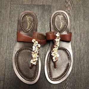 Sam Edelman Brown Leather Boho Seashell Sandals